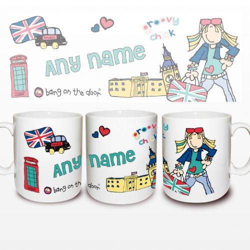 Personalised Bang on the Door London Chick Mug